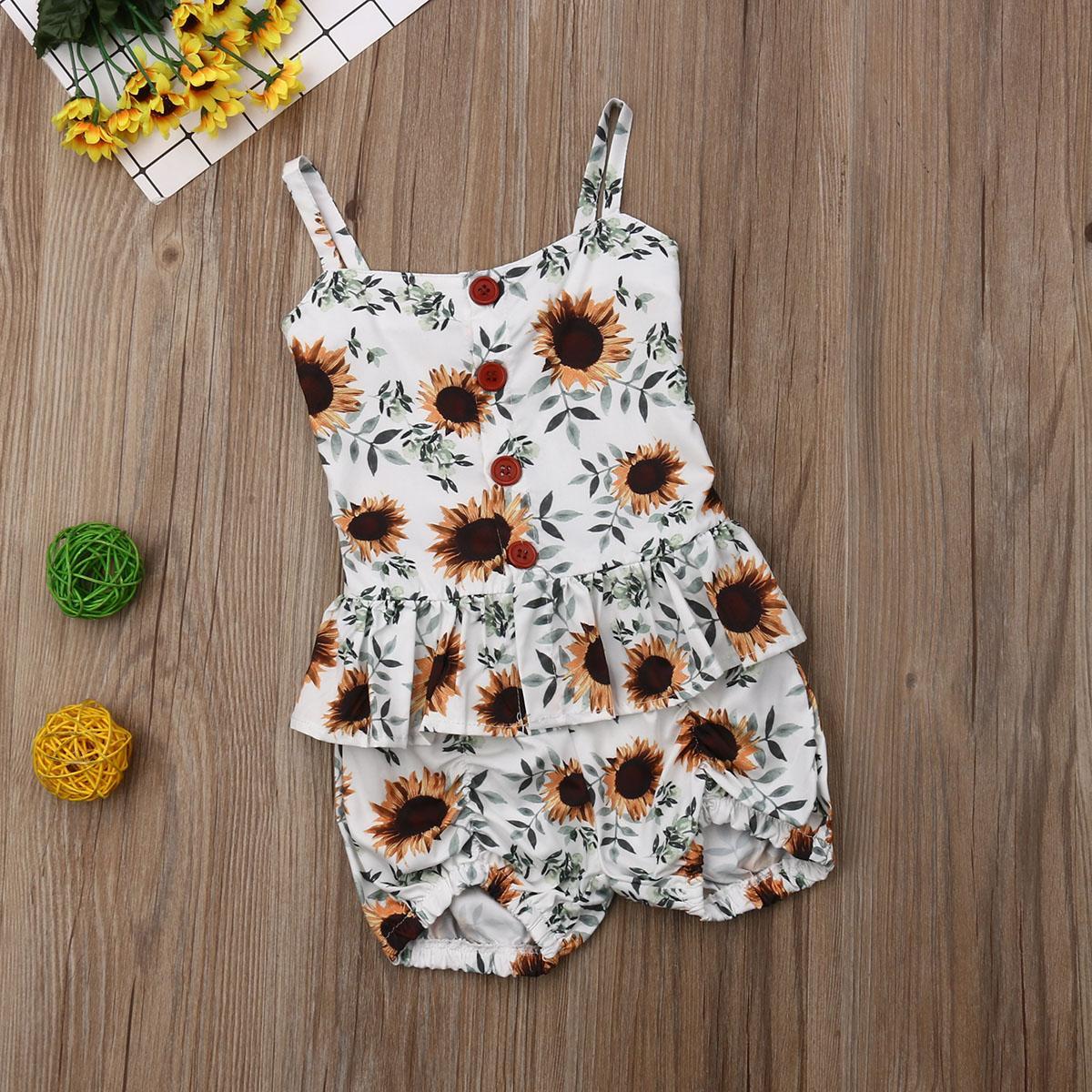 Niño del bebé embroma la ropa del verano floral sin mangas volante Tops Shorts Trajes Set 2pcs