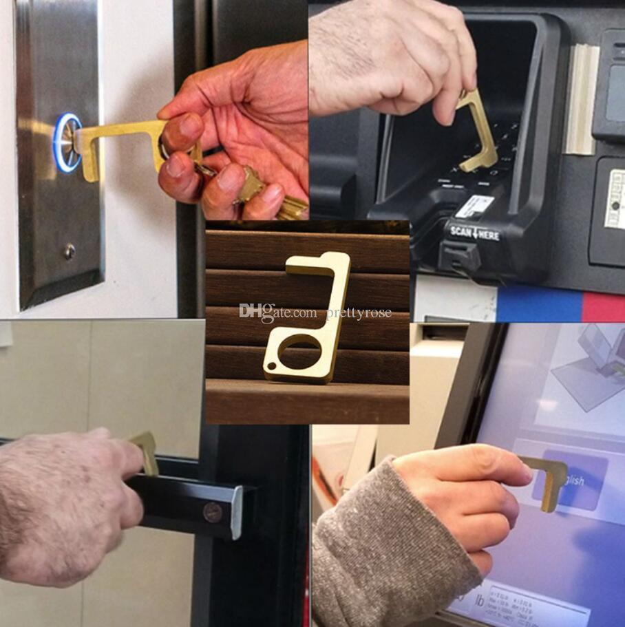 Manter as mãos limpas Nenhum contato abridor de porta da EDC Fecho Da Porta Ferramenta Botão No-Touch Ferramenta para Higiene das Mãos com chaveiro Imprensa Elevador