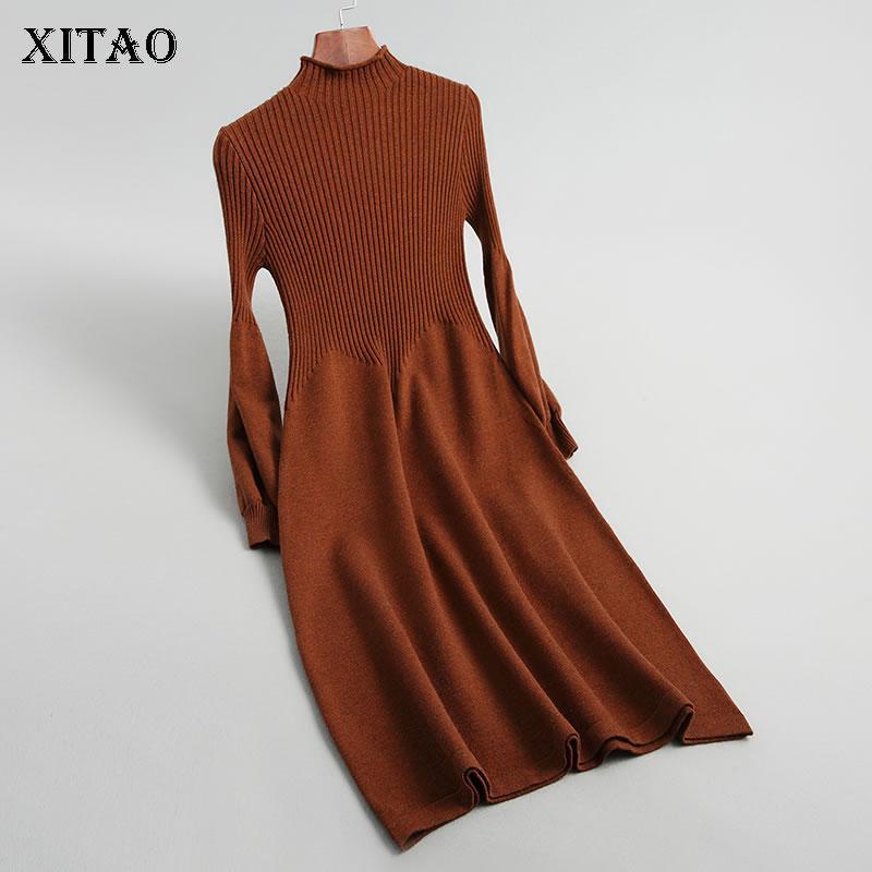 Xitao gestrickte gefaltete Pullover Pullover Elegant Kleine Frische Gerade 2019 Winter-Pullover mit Stehkragen beiläufige lose beiläufige Strickjacke DMY2072