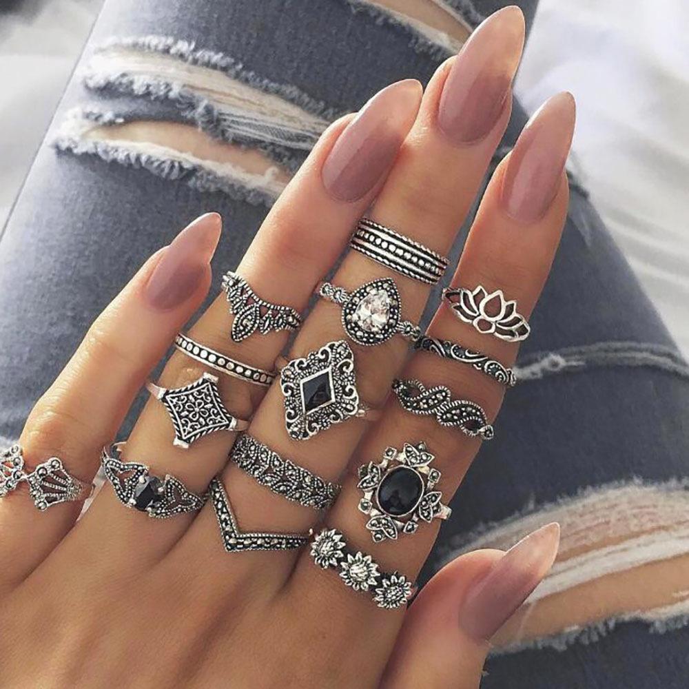 Bohemian Antique Silve Elephant Leaves Flower Rose Heart Crown Ring Set Gem Crystal Knuckle Finger Midi Ring for Women Jewelry