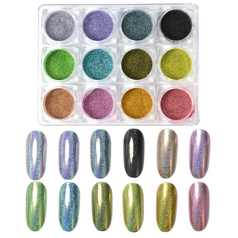 Çiviler Holografik Dip Toz Ayna Polisaj Krom Pigmentler Nail Art Dekorasyon Lazer Göz kamaştırıcı Dust için Glitter