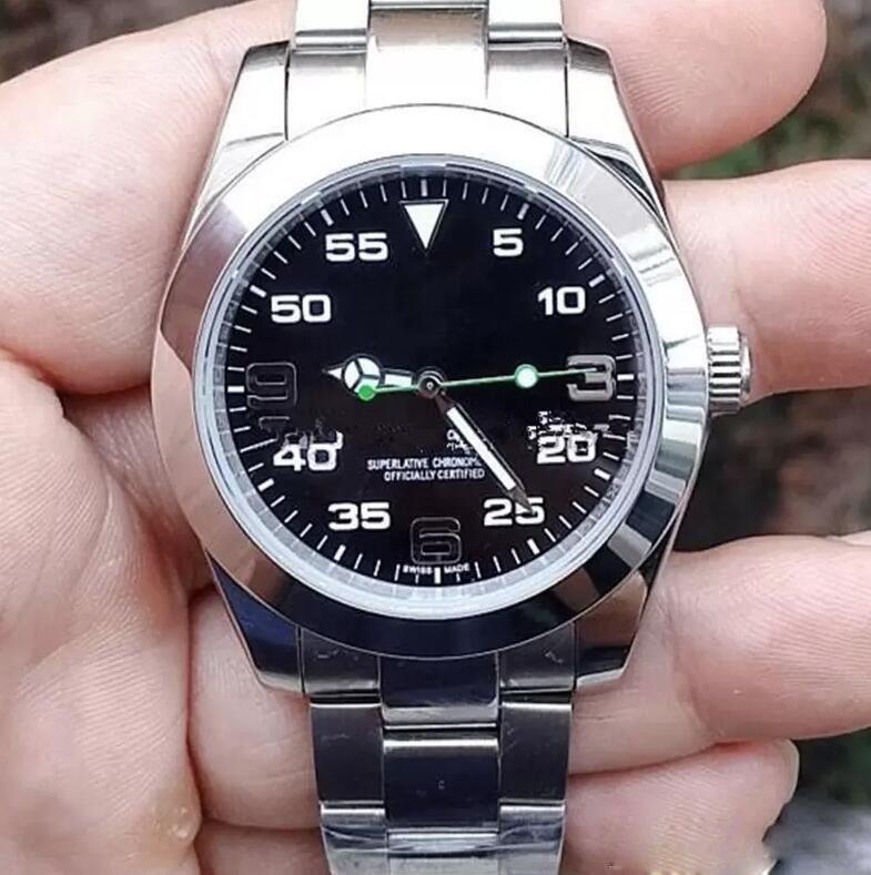 Top Simples Estilo Sapphire automática Mens Watch 40 milímetros Preto Dial Fixa Dome moldura de aço inoxidável luminosos homens assistir ao ar livre relógios