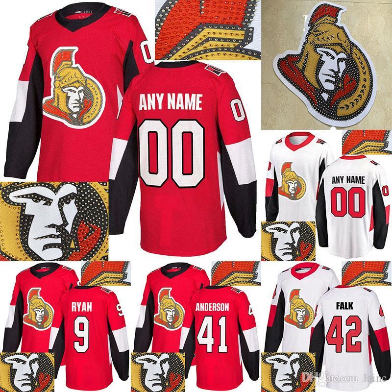 Maglia Ottawa Senators Perforazione a caldo 65 Erik Karlsson 95 Matt Duchene 61 Mark Stone 41 Anderson qualsiasi numero qualsiasi maglia da hockey