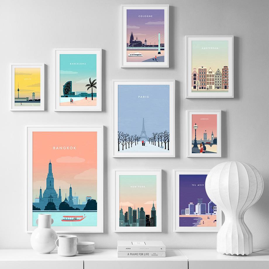 파리 런던 베를린 여행 포스터 빈티지 벽 예술 캔버스 북유럽 포스터와 인쇄 벽 사진을 거실 장식 회화