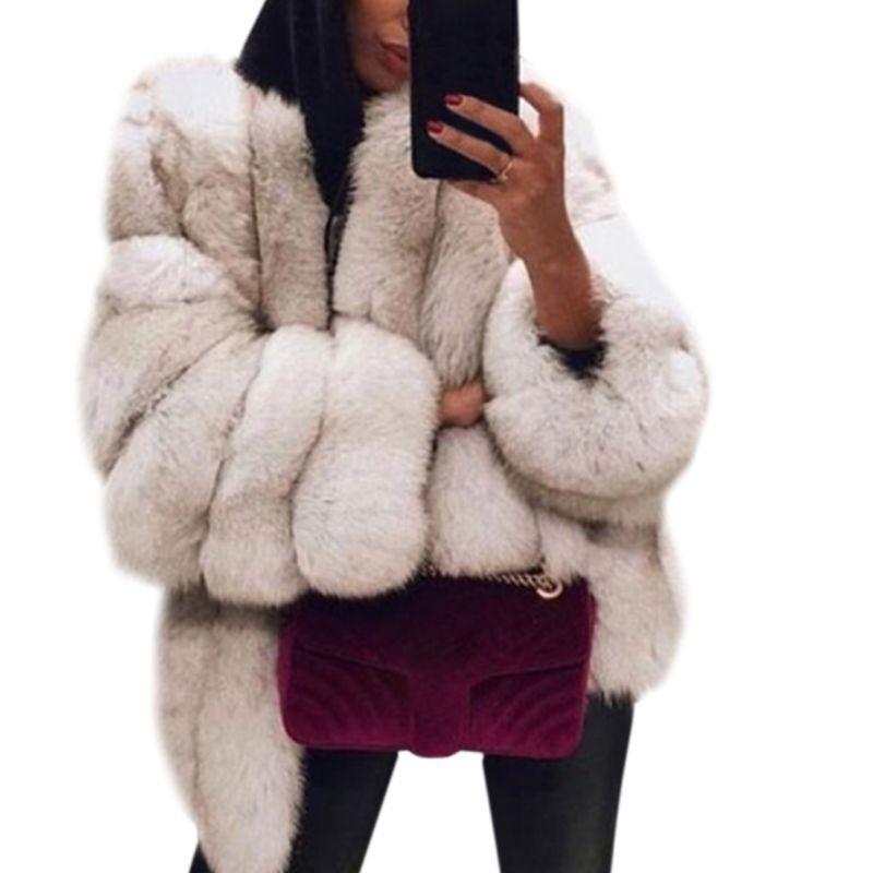 Les femmes épaissie en fausse fourrure uni Pardessus couleur unie à manches longues ouvert pain avant manteau de veste élégante d'extérieur en vrac