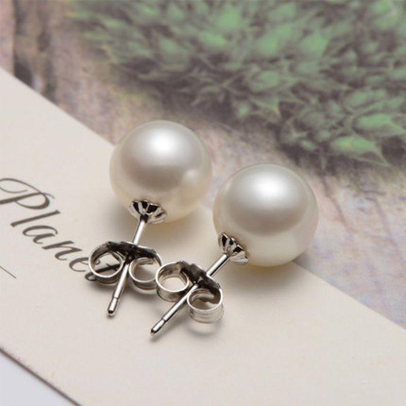 Real perfect round Natural Freshwater Pearl stud Earrings For Women 925 sterling silver jewelry with pearl arrival