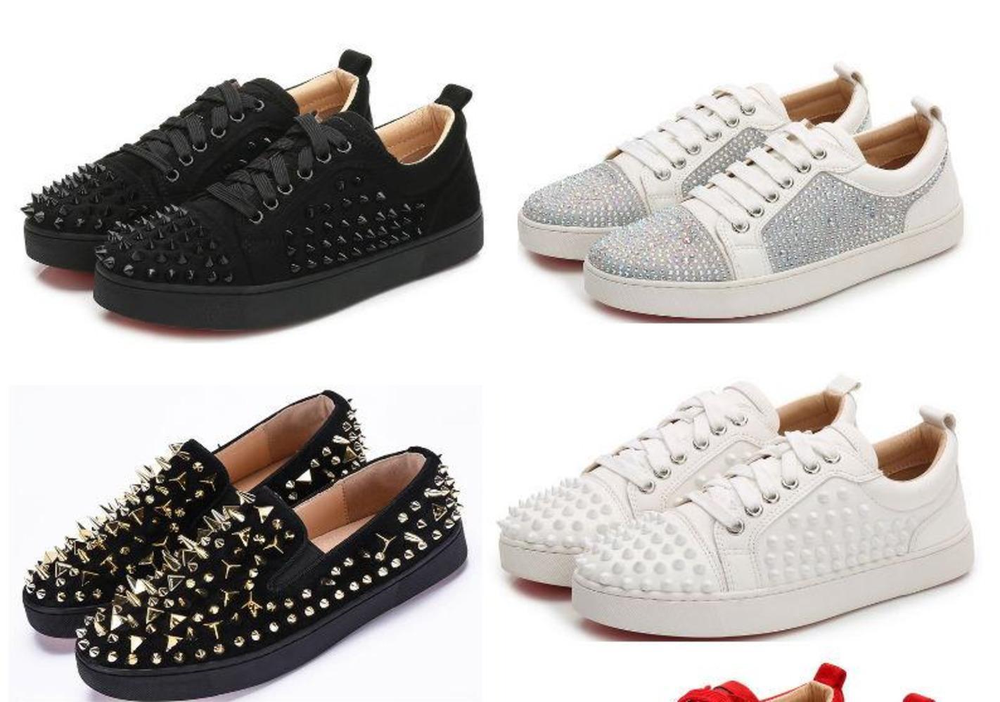 Red Bottom Дизайнерская обувь High Cut Spike Top Версия Корова Sedue теленок Sneaker Luxury Party Свадебная обувь из натуральной кожи Повседневная обувь -