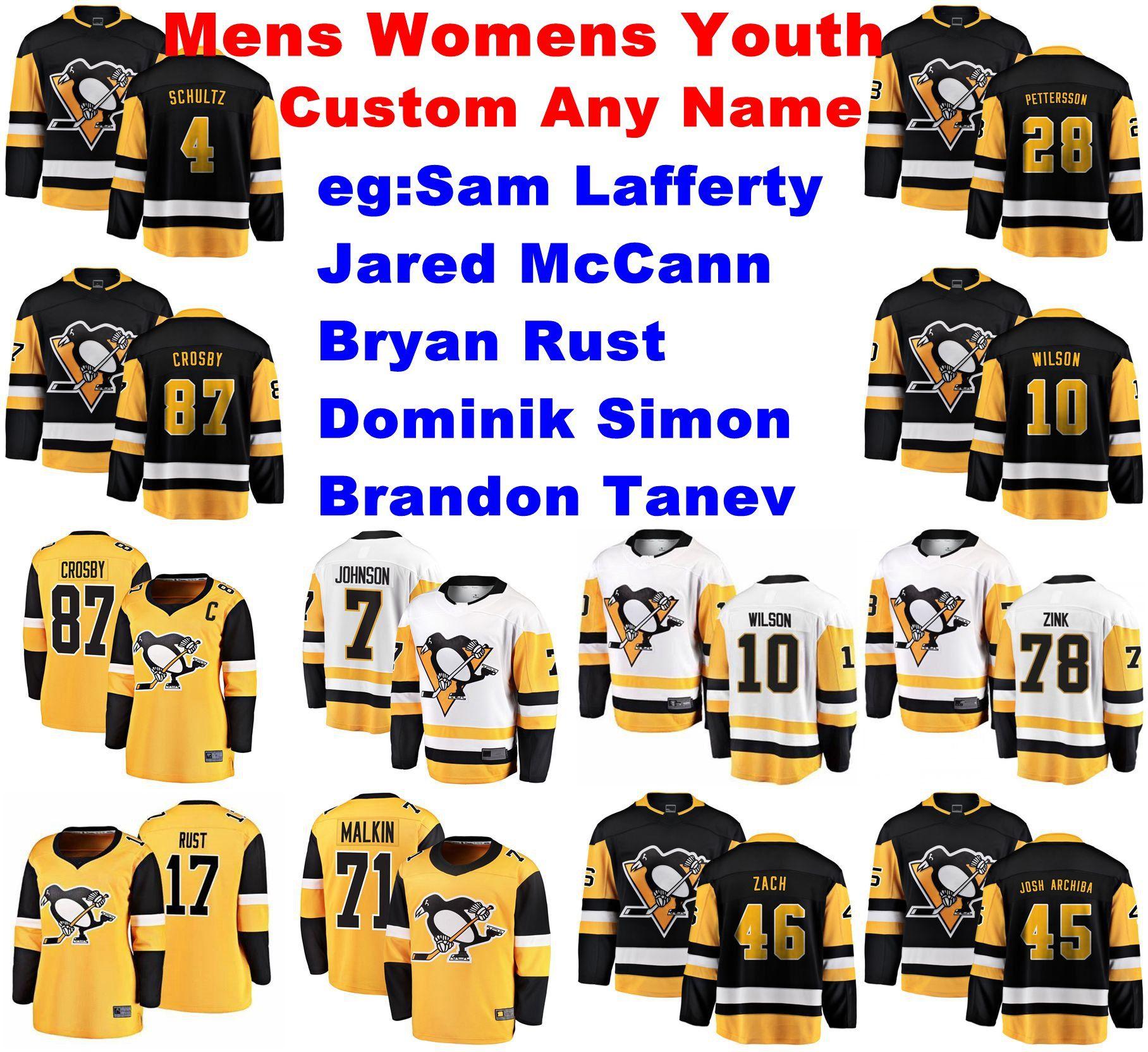 Pittsburgh Penguins Jerseys Womens Sam Lafferty Jersey Brandon Tanev Dominik Simon Rust McCann Ice Hockey Jerseys Personalizar costurado