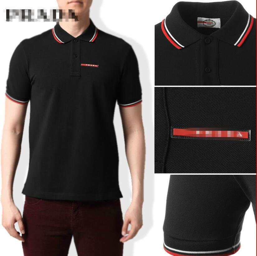2020 дизайнерский бренд поло рубашка мужчины футболки роскошные мужские поло цветочная вышивка High street Prãdã известный принт мужчины голова поло