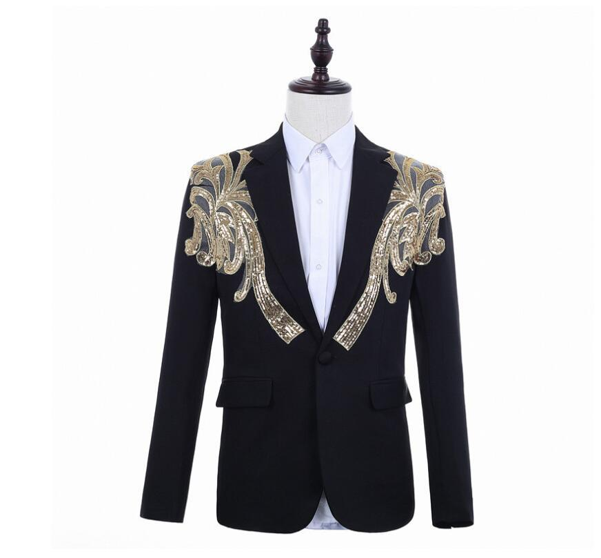 sequins blazer men suits designs jacket mens stage embroidery singers clothes dance star style punk rock masculino homme black