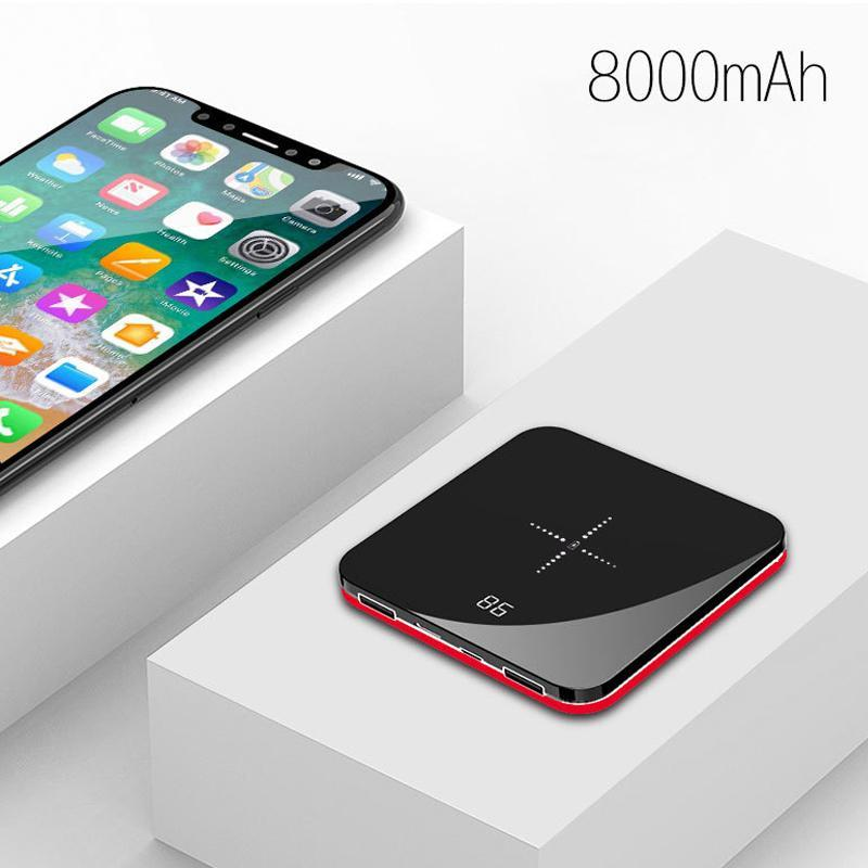 HOT Ultra Thin Mini Portable Power Bank 8000mAh QI Wireless Charger for iPhone 11 11pro xr xsmax x Fast Charging External Battery Powerbank