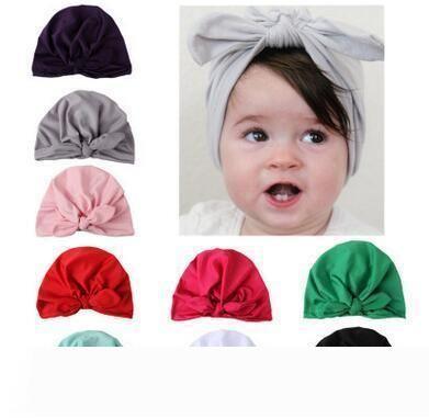 Новая Европа США детские шляпы Кролик ушные колпачки тюрбан узел головы обертывания младенческие дети Индия шляпы уши крышка ребенок молоко шелк Шапочка 60 шт