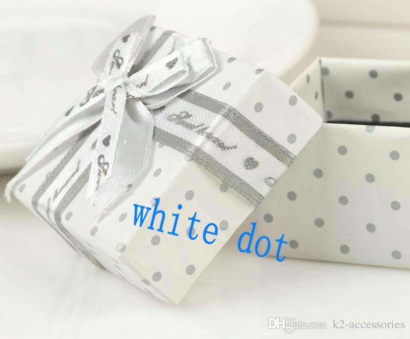 ELEGANT WHITE DOT 5.5x8x2.7cm bracelet, necklace, pendant jewelry packaging display box love gift wedding favor BOX packing case