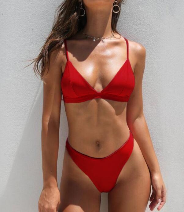los deportes al por mayor del traje de baño del bikini v-hebilla del sujetador atractivo sólida pieza de un estilo flexible de traje de baño determinado yakuda encargo del traje de baño atractivo de las mujeres Bikinis