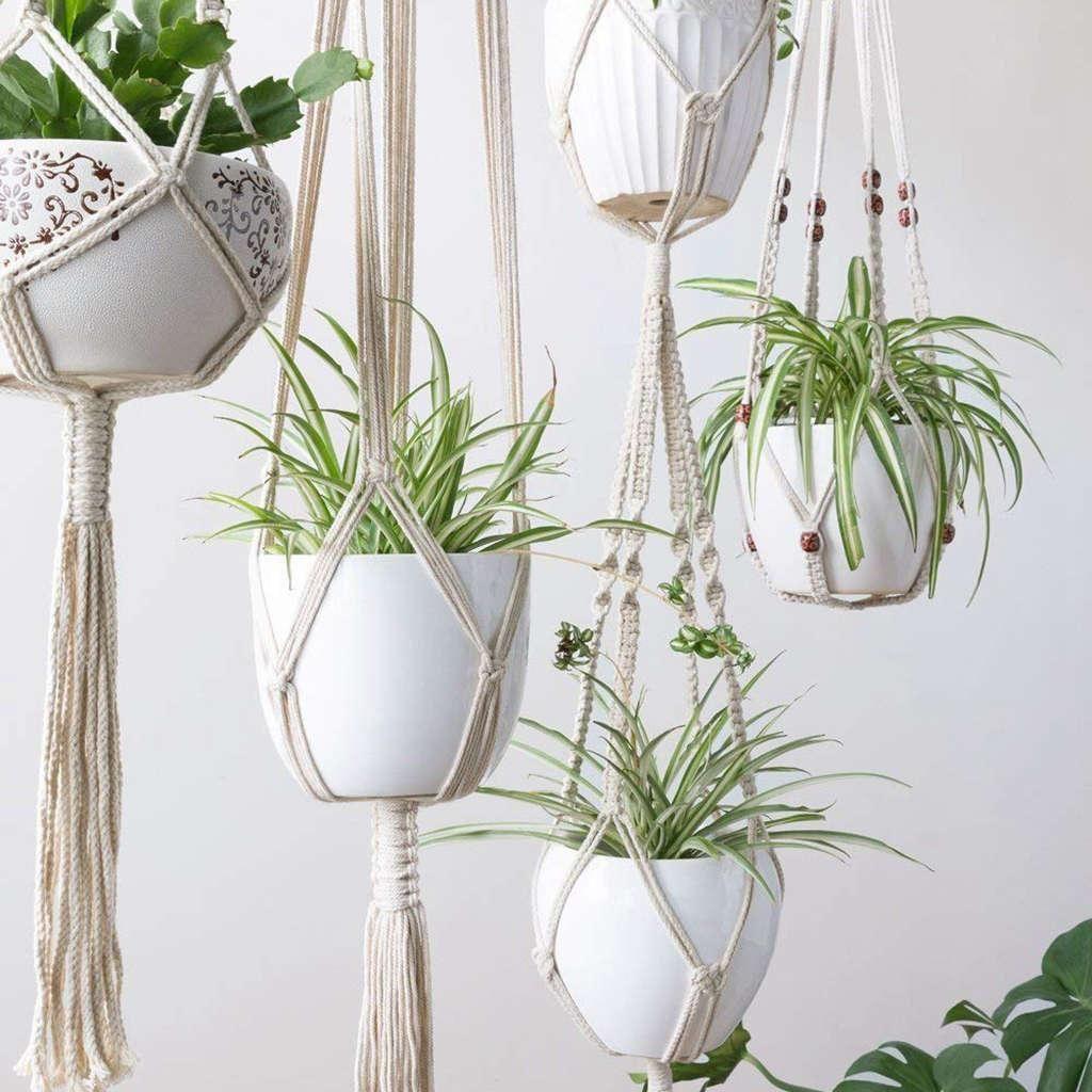4pcs / lot Macrame Plant Hangers Creative Designs Handmaked Indoor Wall Hanging Planter Plant Holder Modern Boho Home Decoration