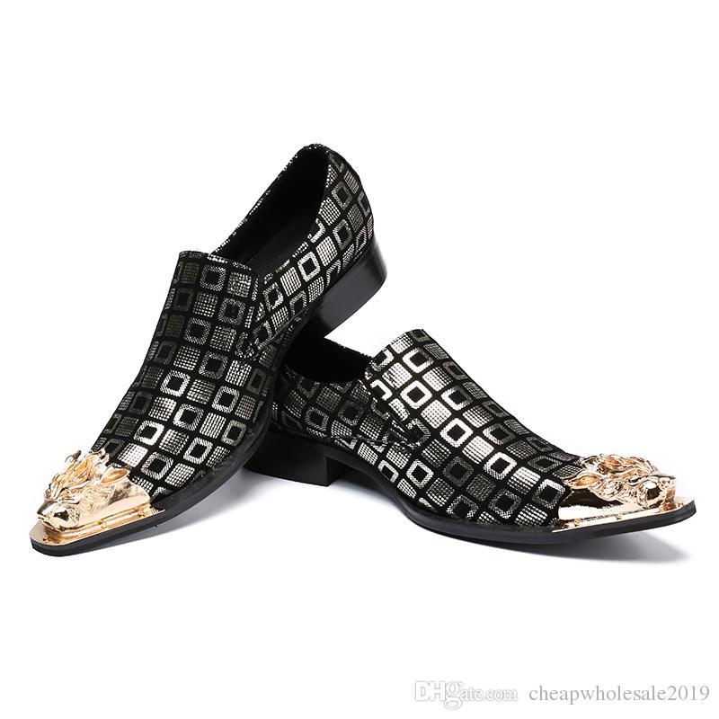 Homens de Couro De Impressão Vestido De Ouro Sapatos de Marca de Designer de Moda Homens Boate Festa de Casamento Handmade Loafers Shoes Plus Size 38-47