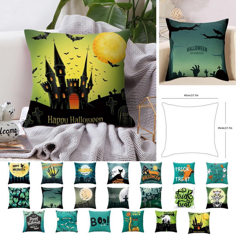 Capa de Almofada 45x45 cm Estilo Halloween Lance Fronha Fronha Casa Decorativa Para O Assento Do Sofá Travesseiros Capa Novo