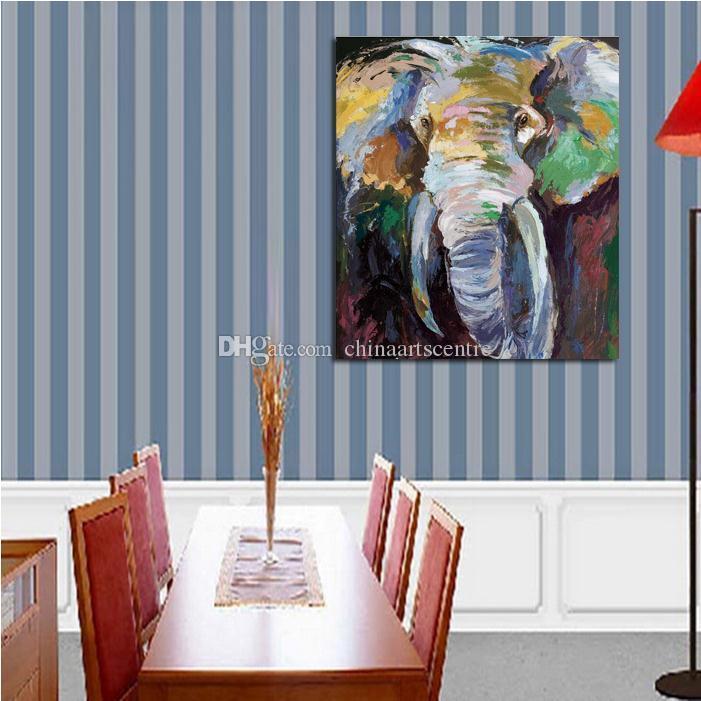 vA. Handbemalte HD-Druck modernes abstraktes Tier Elefant-Kunst-Ölgemälde auf Leinwand-Wand-Kunst-Ausgangsdekoration Qualitäts-a82