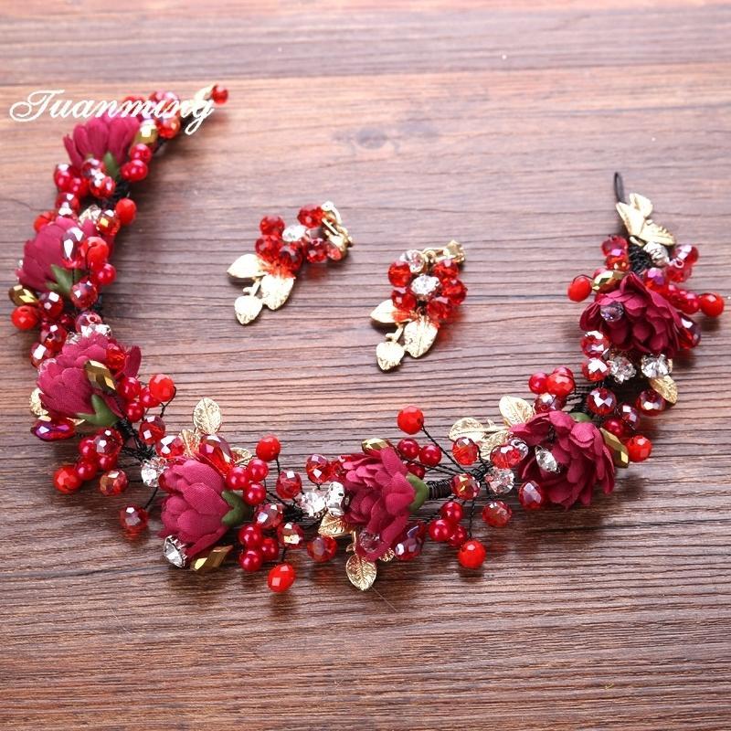 Kadınlar Için kırmızı Inci Kristal Çiçek Düğün Kafa Küpe Setleri Saç Takı Tiara Hairband Çelenk Gelin Taç Saç Aksesuarları C19041101
