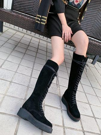 Kadınların gündelik botlar moda düşük topuklu kadın botları toptan satış fiyatı 35-41 boyutu sürüş Martin botları deri süet kalın tabana vurma