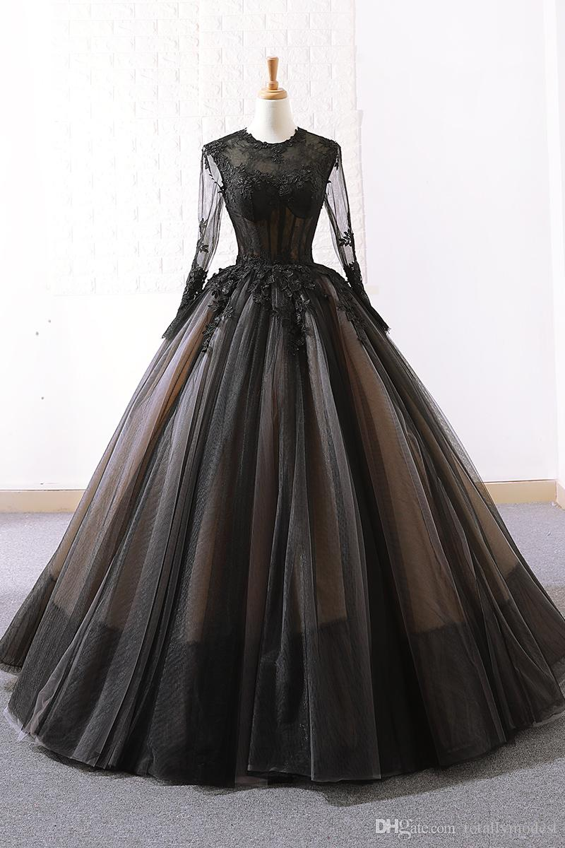 Black Ball Gown Gothic Wedding Dresses 2019 With Long Sleeves Lace Appliques Tulle Floor Length Vintage Bridal Gowns Custom Made