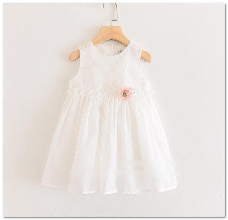 Girls lace embroidered vest dress kids stereo lace pompons flowers princess dress 2020 summer new children gown style lace tulle dress J2677