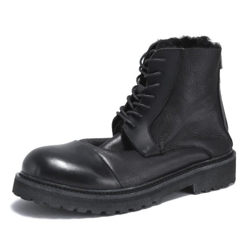 2020 neue reale Schaf-Pelz-warme Fleece-echtes Leder-Motorrad-Aufladungen der Männer Retro-runde Zehe-Ankle-Boots Männliche Schuhe