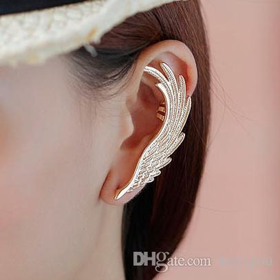 Hot Fashion Single Girl ear cuff earrings 1PC Angel Wings feather golden ear clips for women left ear Punk Jewelry Gift