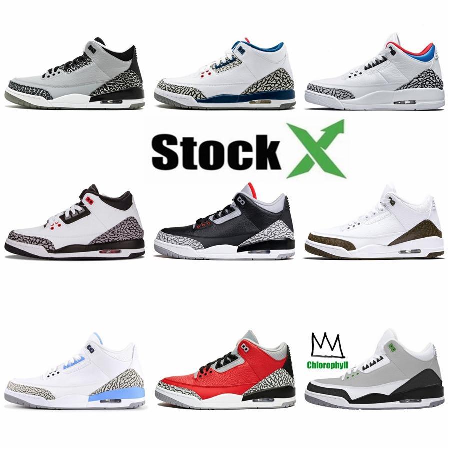 2020 nuevos zapatos de baloncesto del Mens metálico Pack 3 Universidad 3S Corte púrpura verde del pino rojo Jumpman puro blanco Dinero entrenadores deportivos zapatillas de deporte # 54