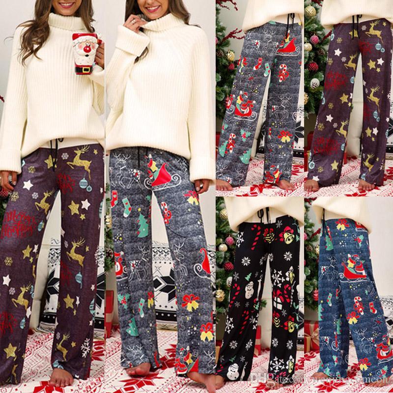 2019 크리스마스 트리 Prinited 디어 벨 패턴 여성의 바지 캐주얼 졸라 매는 끈 긴 바지 넓은 다리 바지 여성 바지 핫