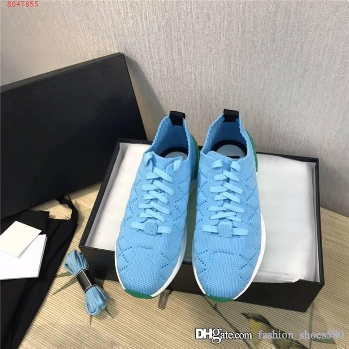 Mujeres ocasionales calcetines de punto respirable cómodo y zapatillas de deporte de la tela con los zapatos bajo-tops funcionamiento de celosía, con la caja de 35-40