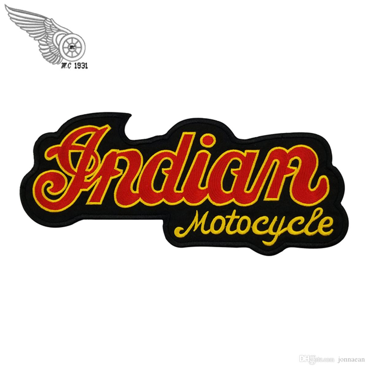 Vente chaude Indian Motocyclette Logo Broderie Correctifs Taille Dos Complète Pour MC Veste Gilet Fer Sur La Conception