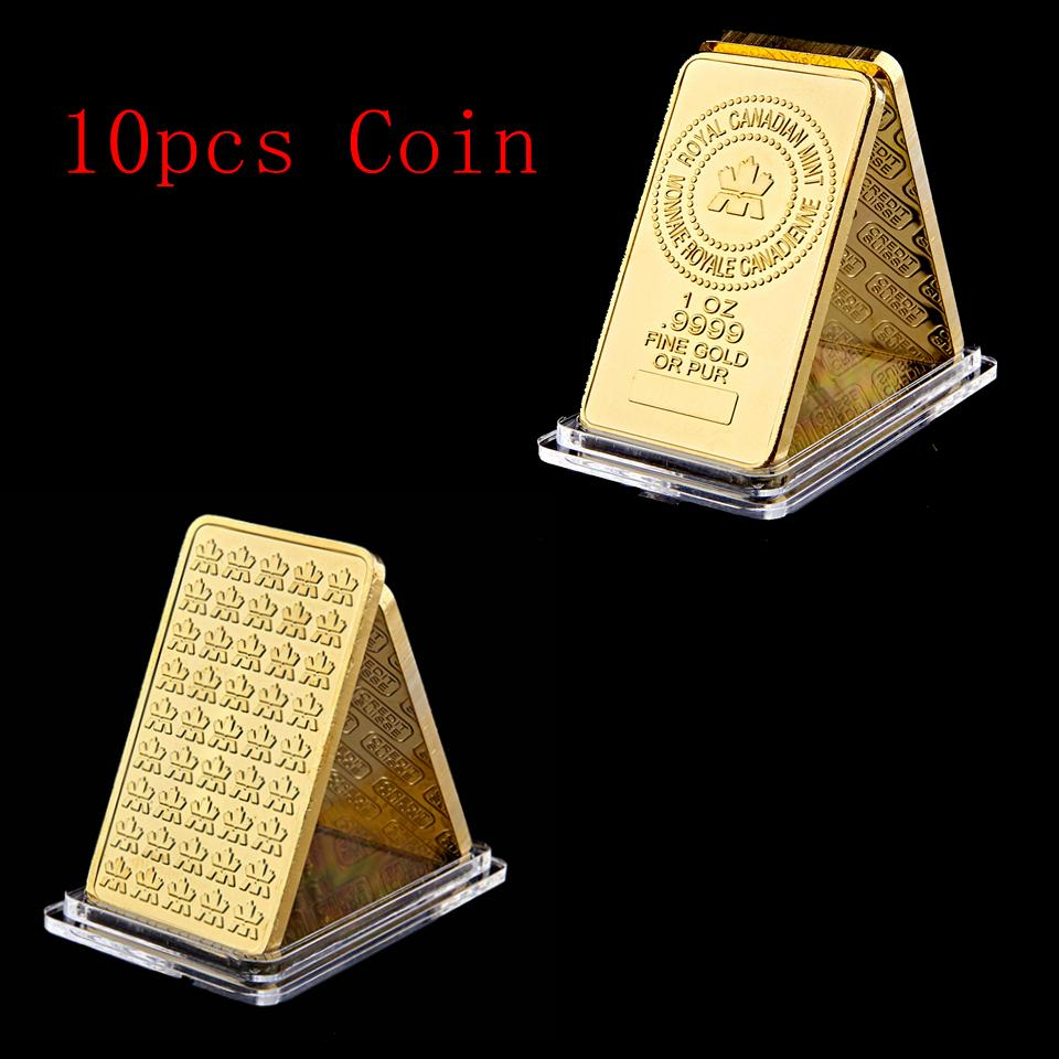 10 Pcs/lot The Royal Canadian Mint Gold Plated 1 OZ Fine Gold Or Pure Souvenir Bullion Bar