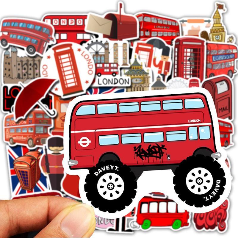 50pcs / Set Waterproof Red Bus Cabina telefonica autoadesivi del PVC di Londra per il computer portatile del motociclo Skateboard Deposito Decal Sticker giocattolo