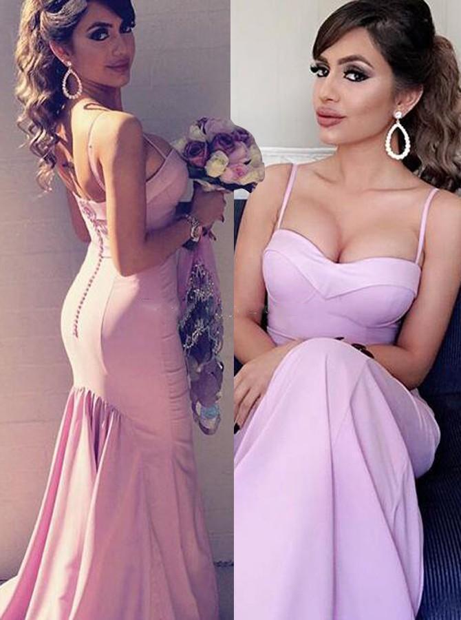 Saten Hizmetçi Onur törenlerinde Kadınlar Balo Parti Elbise Of dantelli Seksi Spagetti Denizkızı Uzun Gelinlik Modelleri İçin Düğün Geri Kaplama Düğmeler