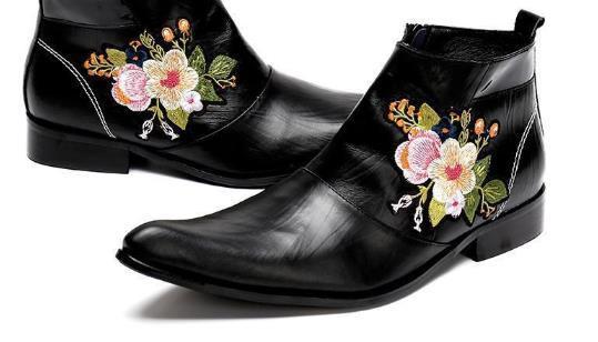 Erkekler ile Nakış Çiçekler Gece Kulübü Yüksek topuklu Boots için Tasarımcı-k Deri