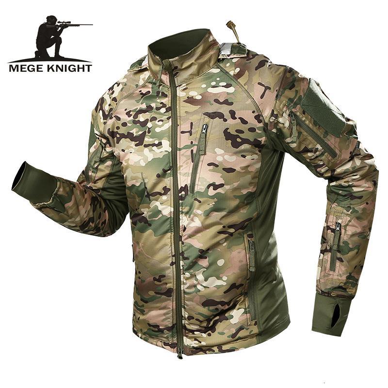 MEGE Erkekler su geçirmez Askeri Taktik Ceket Erkekler Sıcak WINDBREAKER Bombacı Ceket Kamuflaj Kapşonlu Coat ABD Ordusu chaqueta hombre MX191026