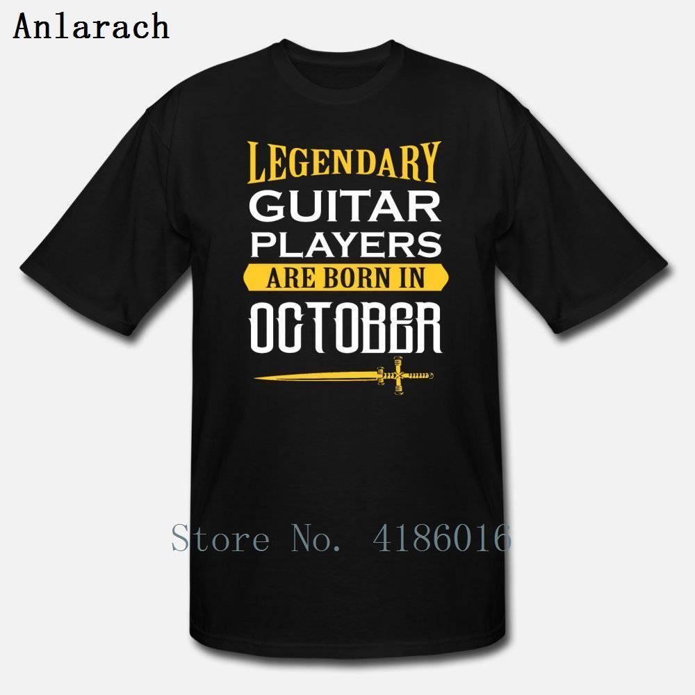 Legendario guitarrista nacido en octubre camiseta nueva moda verano loco traje de algodón cuello redondo diseño único