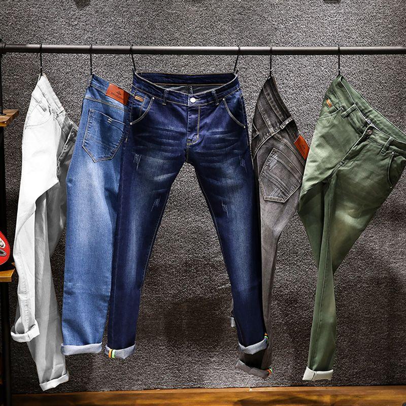 Novo Homens magros coloridos Jeans Moda Elastic magros calças Jean Masculino Marca Calças Azul Verde Grey 6 cores