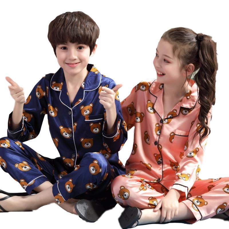 كارتون الأطفال منامة تعيين 2019 الخريف كم طويل ملابس أطفال لطيف الفتيات ملابس للنوم مجموعات بنين منامه مجموعات المراهقين Pijamas Y200328