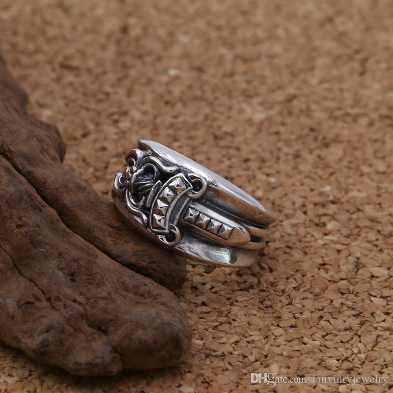 Personalisierte 925 Sterling Silber Punk Rock Vintage Antik Silber Schmuck handgemachte Designer Dolch Schwert Ring für Geschenk