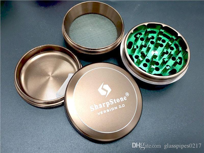 Dhl ücretsiz 4 Katmanlar Alüminyum Alaşım Pah Öğütücüler 63mm Herb Metal Öğütücüler Sharpstone sürüm 2.0 değirmeni vs uzay davası