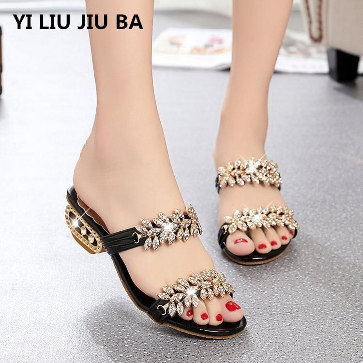 2019 novas mulheres sapatos chinelos sandálias de praia de verão Moda mulheres Rhinestone exterior chinelos chinelos sapatos mulheres mujer ** 692