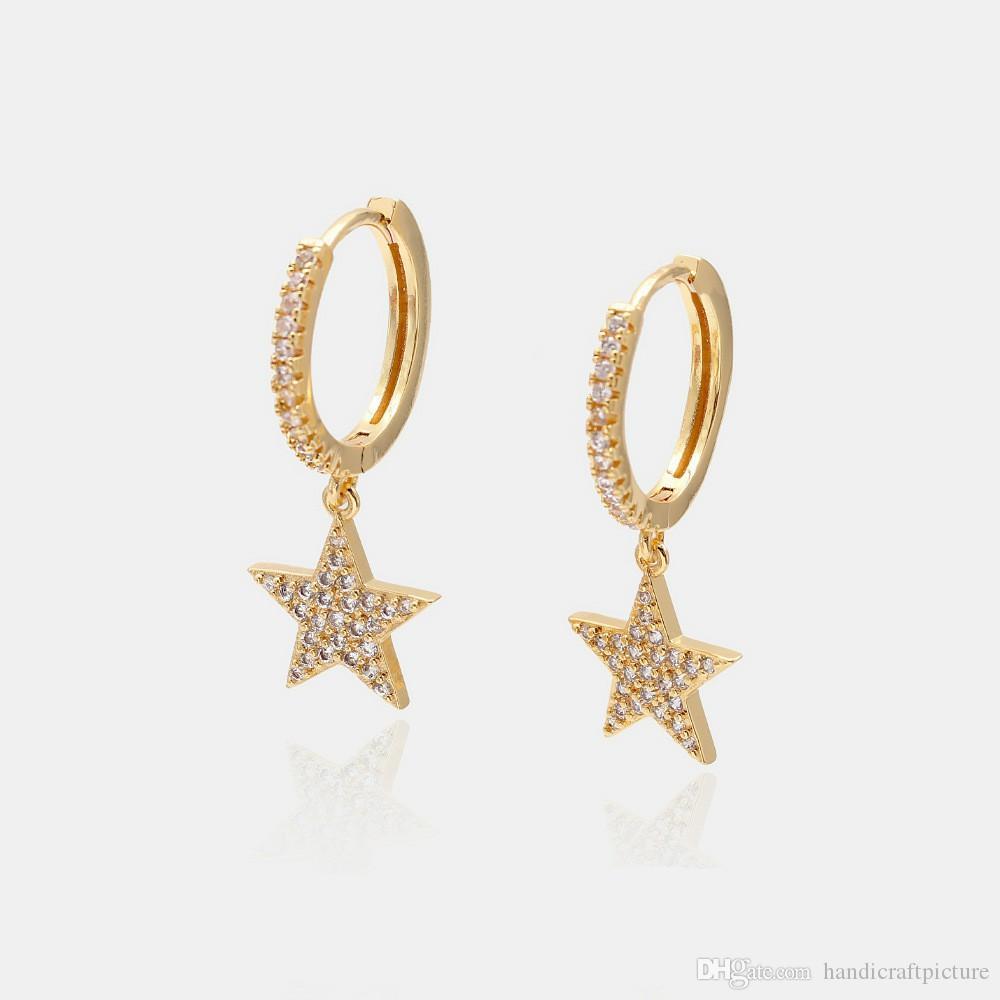 Designer di lusso Gioielli Donne orecchini Butterfly Heart Star Diamond Orecchini in rame con placcato oro elegante orecchini di fascino per girl hoop