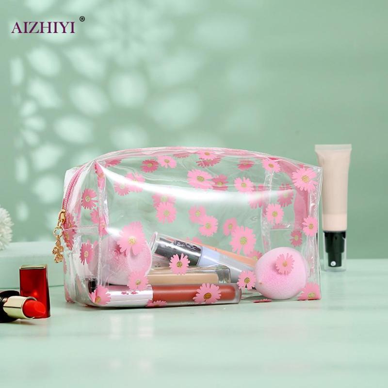 Textura clássico mulheres transparente Cosmetic Bag Delicate Composição Creativa curso do projeto da margarida Caso Organizador Bolsa de armazenamento