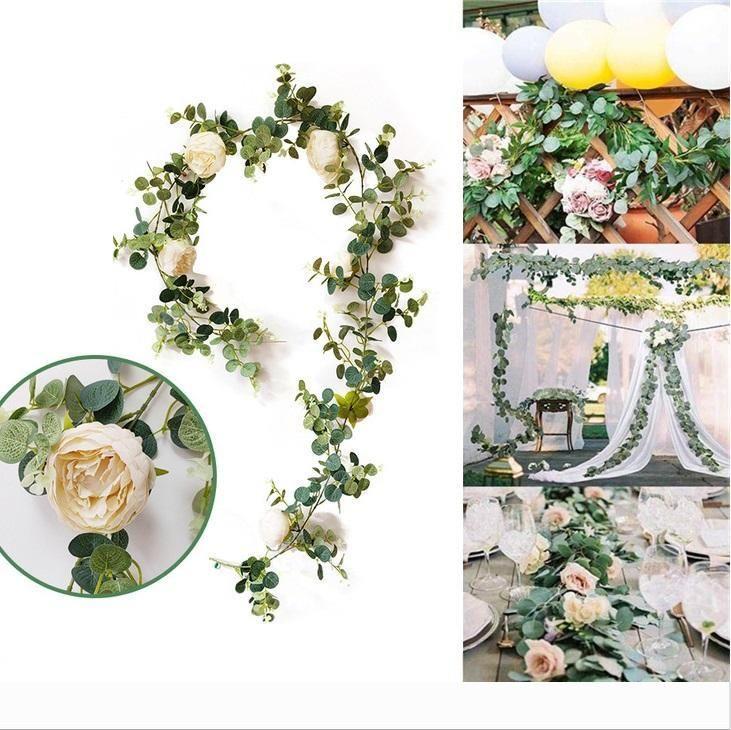 Designer artificielle Eucalyptus Fleur de vigne avec Rose Pivoine Wisteria fleur rotin soie Feuilles de simulation pour Garden Home Wedding Party D