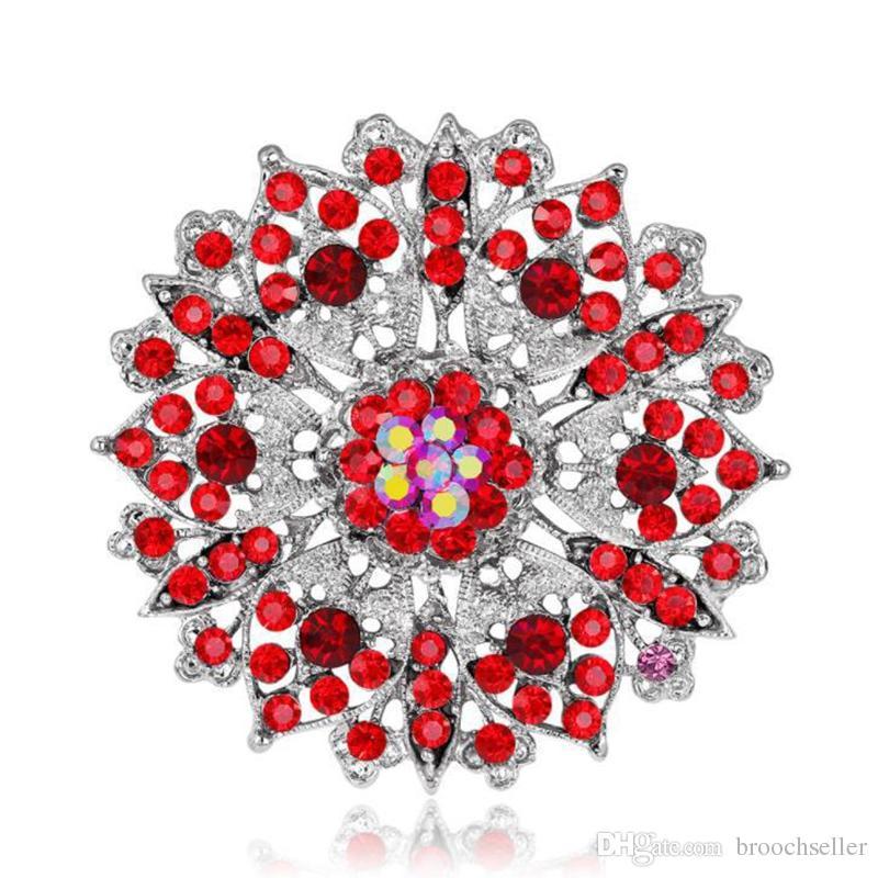 Verzilverd grote grootte-legering en rode strass Crystal Vintage Broche