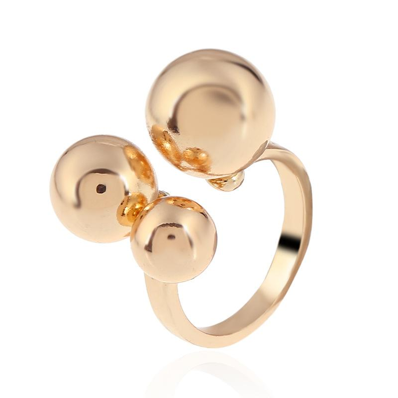 Simple, windy, medium and small gold beans ring opening adjustable allergy-proof finger ring alloy jewelry for women