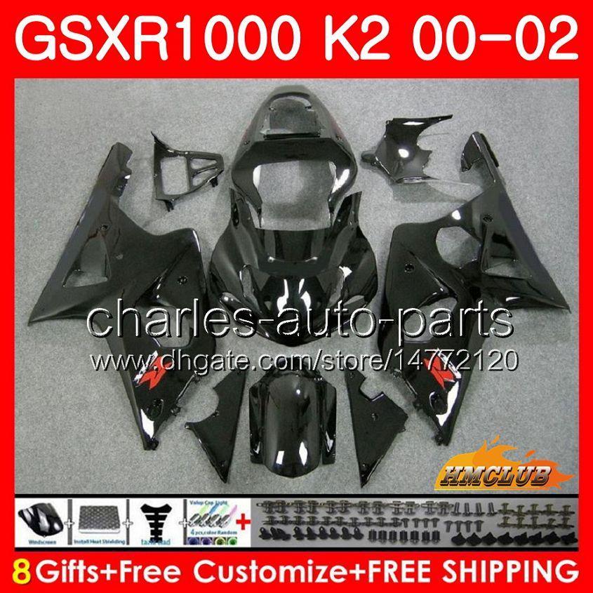 Ram för SUZUKI GSX-R1000 GSXR1000 K2 GSX R1000 00 02 Bodys Kit 14HC.1 GSXR-1000 Glansig Svart Ny GSXR 1000 00 01 02 2000 2001 2002 Fairing