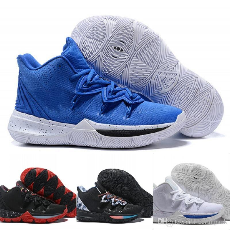 the latest 09944 6929d Hot Sale Kyrie 5 White Red Blue Designer Basketball Shoes 2019 New 5 Uconn  Huskies Fashion Blue White Fashion Trainers With Original Box